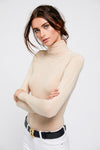 Buttoned Knit Roll Neck (Camel)
