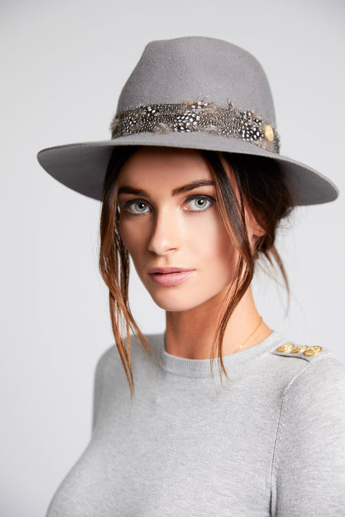 Trilby Hat with Feather Band (Grey)