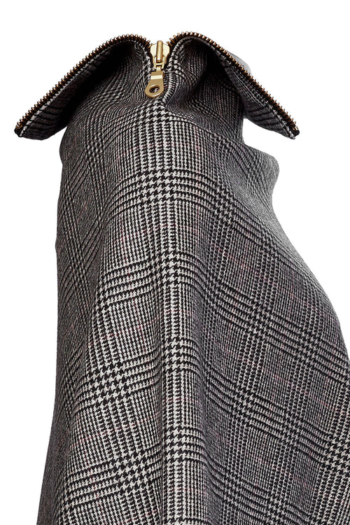 Tweed and Leather Collar Wrap (Black Prince of Wales)