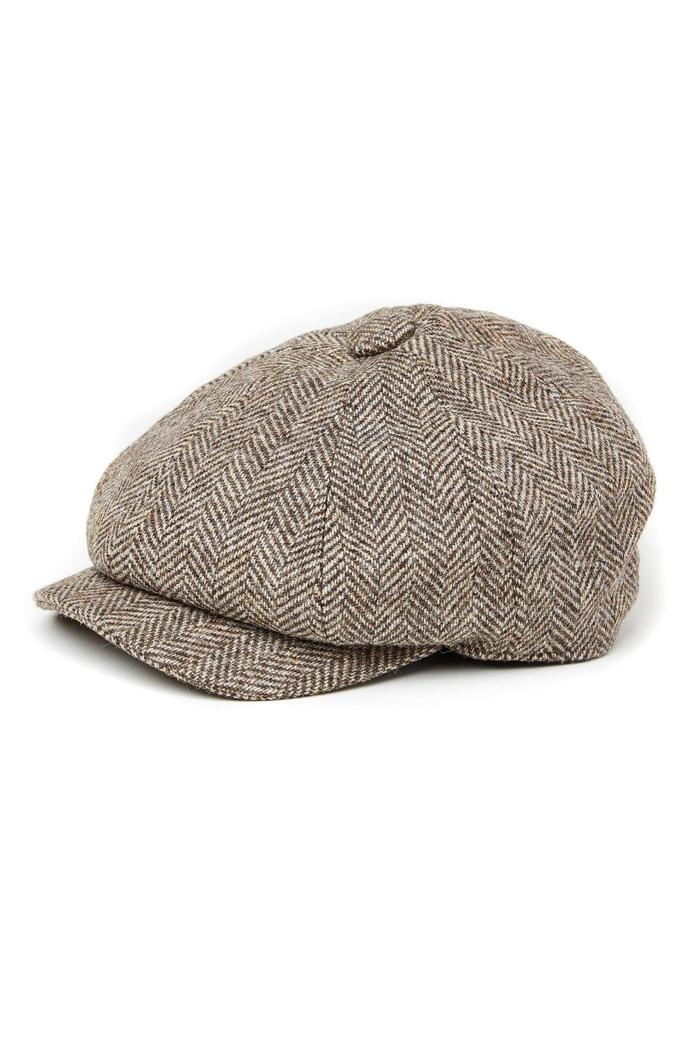 Baker Boy Cap (Wide Tooth Brown Herringbone)
