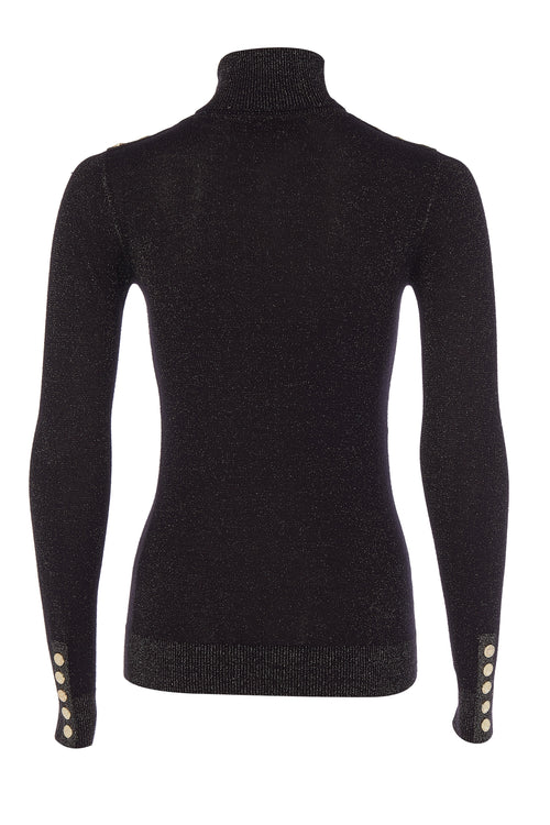 Button Knit Metallic Roll Neck (Black Sparkle)