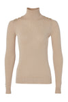 Button Knit Metallic Roll Neck (Light Camel Sparkle)