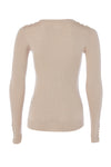 Button Knit Metallic Crew Neck (Light Camel Sparkle)