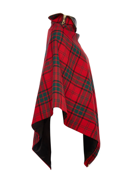 Tweed and Leather Collar Wrap (Red Tartan)