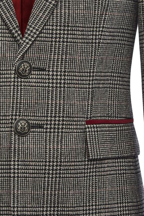 St James Jacket (Prince of Wales Check/Burgundy)