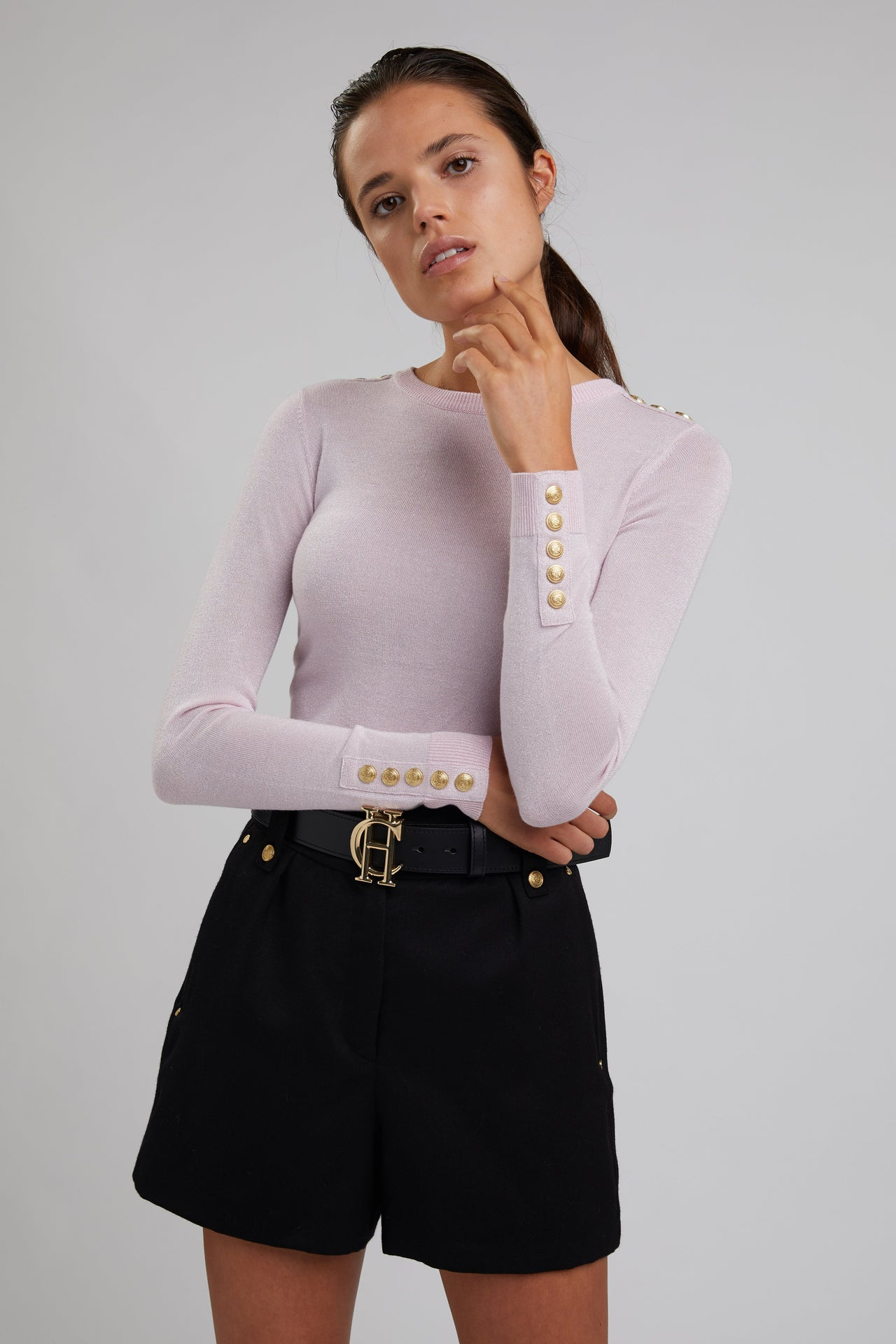 Button Knit Metallic Crew Neck (Pink Sparkle)