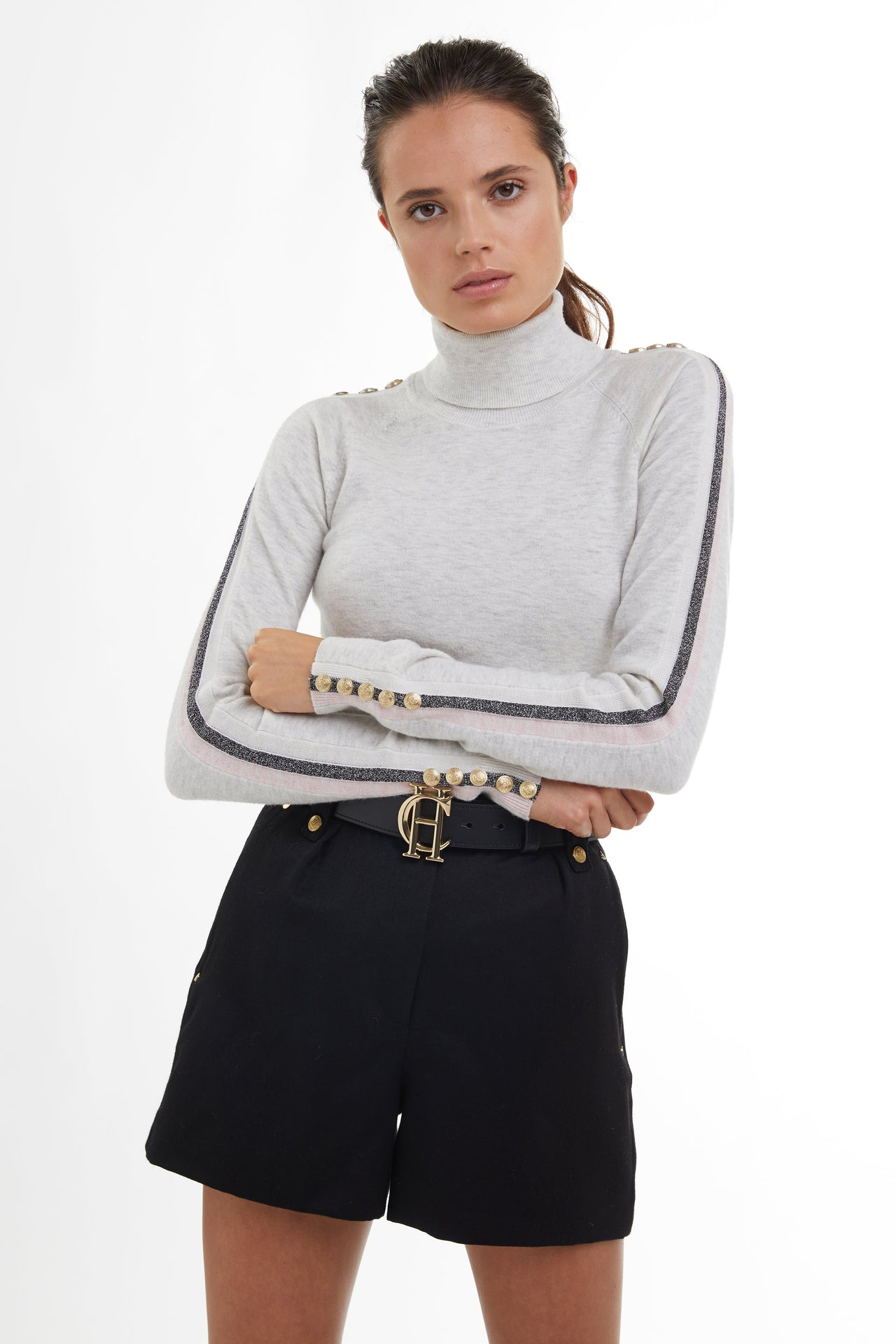 Button Knit Stripe Roll Neck (Ice Grey)