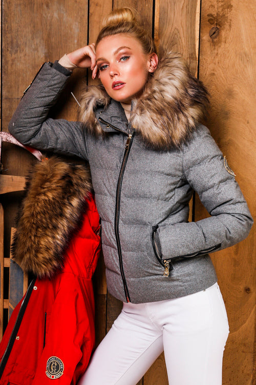 Tignes Tweed Down Puffer Coat (Grey Melange)