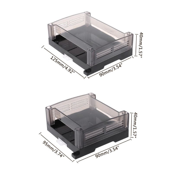 1pc Transparent Plastic Industrial Control Box Panel Enclosure Case Din Rail Project Electronic DIY PCB Shell