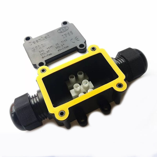 IP68 2-way Waterproof Junction Box Plastic Outdoor Cable Waterproof Junction Box G711 Electrical Junction Box  Black/White
