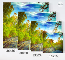 Load image into Gallery viewer, Canvas Art Print in Black or White Wraps New York Landscape Autumn Railway Beautiful Skies