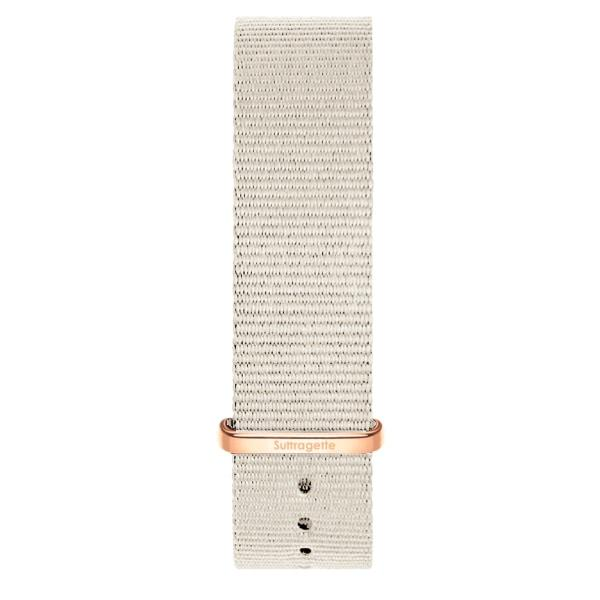 Womens grey fabric band rose gold buckle