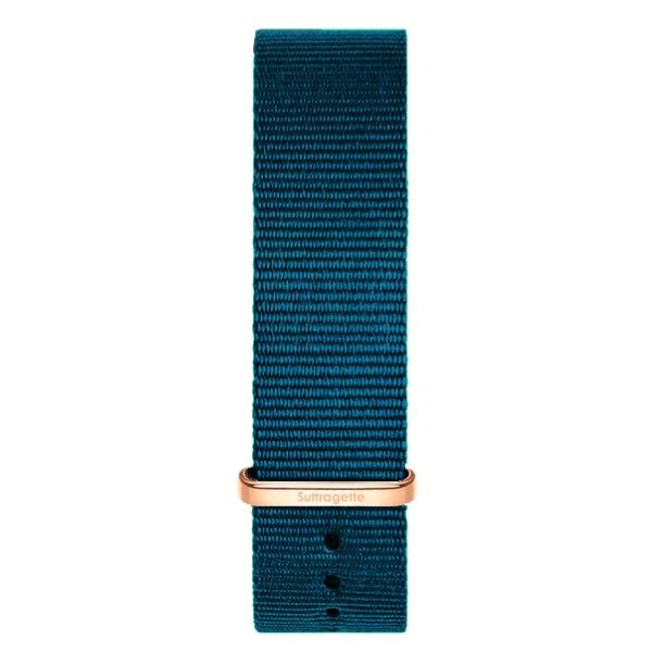Womens turquoise fabric band rose gold buckle