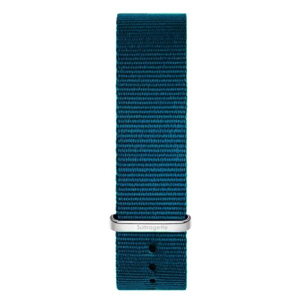 Womens turquoise fabric band silver buckle