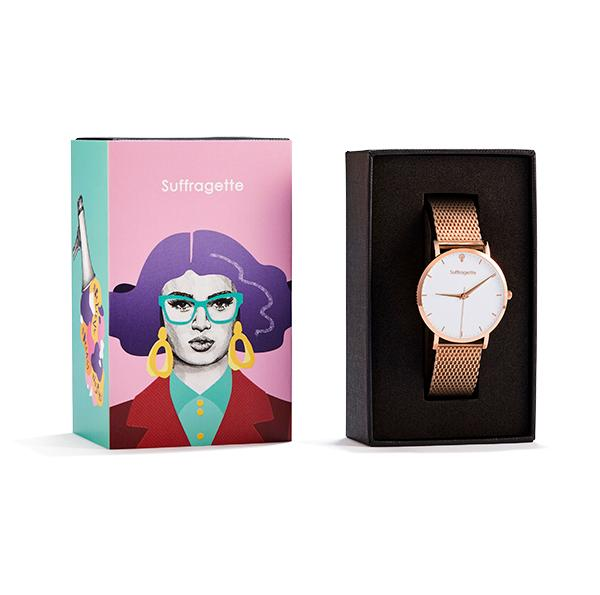 Womens White Watch - Rose Gold - Suffragette Kahlo - In box