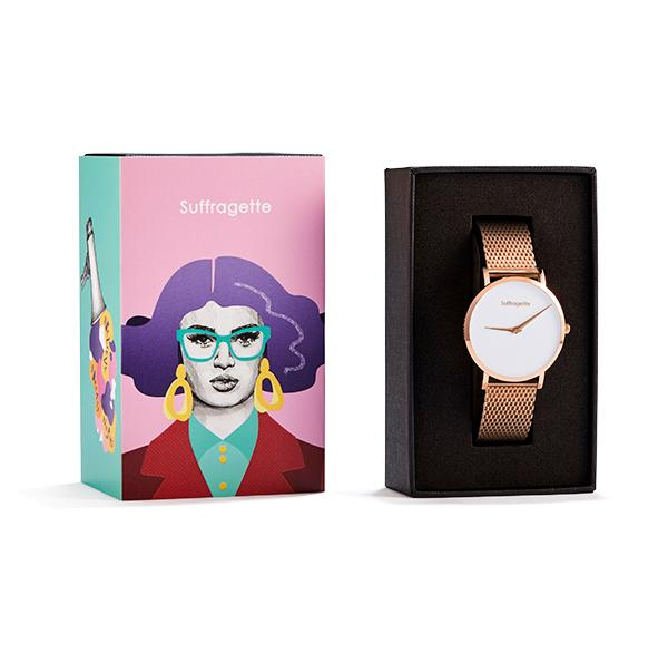 Womens White Watch - Rose Gold - Suffragette Pankhurst - In box