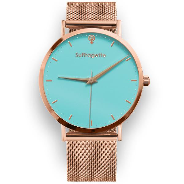 Womens Turquoise Watch - Rose Gold - Suffragette Kahlo