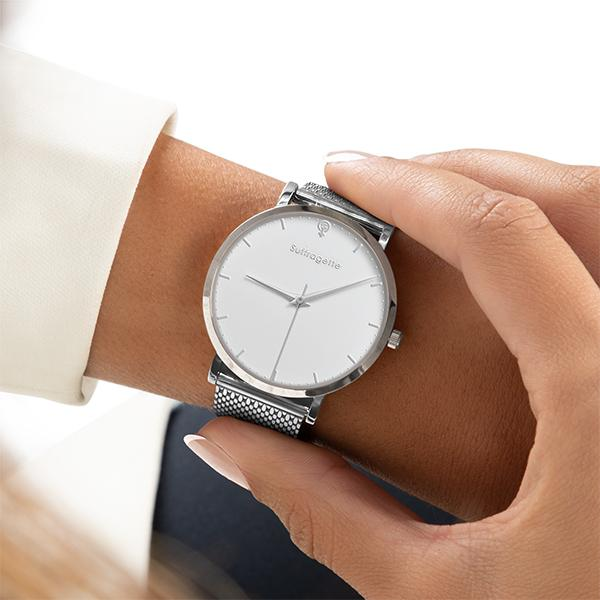 Womens White Watch - Silver - Suffragette Kahlo - On wrist