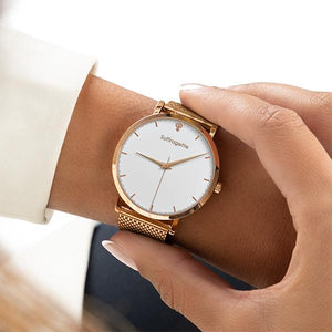 Womens White Watch - Rose Gold - Suffragette Kahlo - On wrist