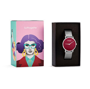 Womens Red Watch - Silver - Suffragette Pankhurst - in box