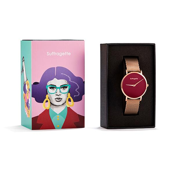 Womens Red Watch - Rose Gold - Suffragette Pankhurst - in box
