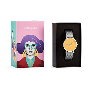 Womens Yellow Watch - Silver - Suffragette Pankhurst - in box