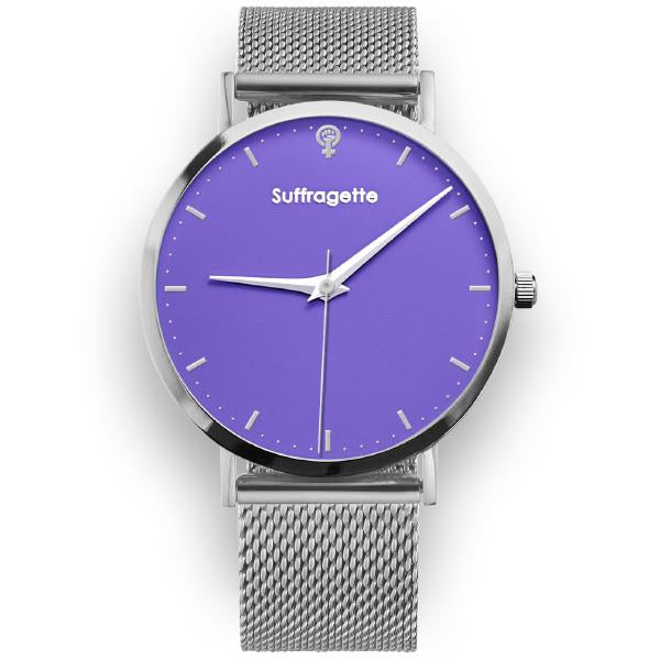 Womens Purple Watch - Silver - Suffragette Kahlo