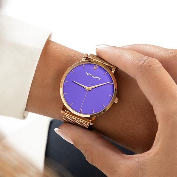 Womens Purple Watch - Rose Gold- Suffragette Kahlo - on wrist