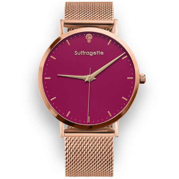 Womens Red Watch - Rose Gold - Suffragette Kahlo