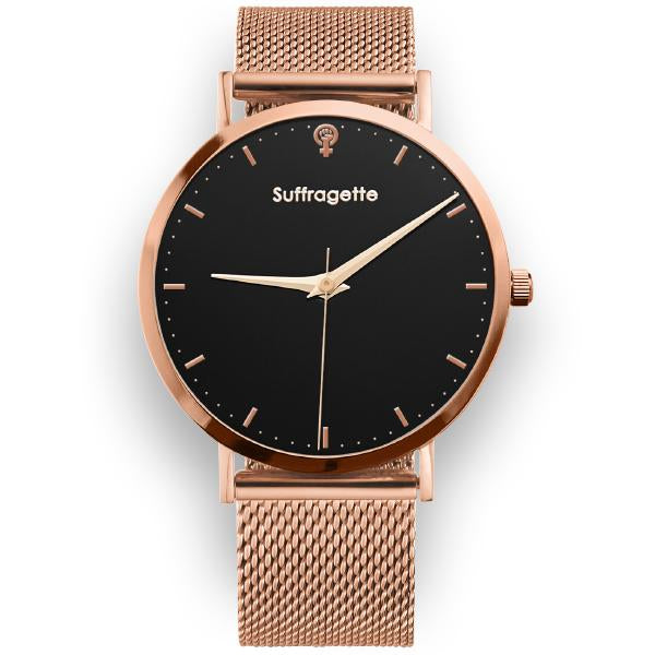 Womens Black Watch - Rose Gold - Suffragette Kahlo