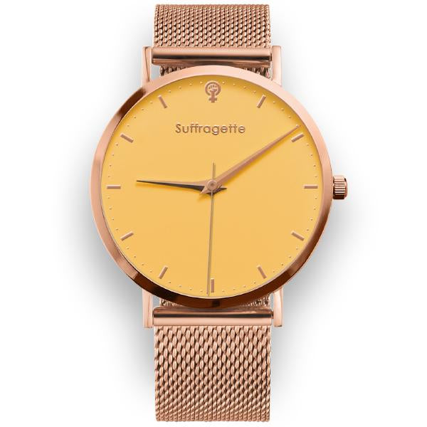 Womens Yellow Watch - Rose Gold - Suffragette Kahlo
