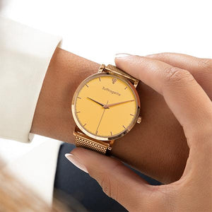 Womens Yellow Watch - Rose Gold - Suffragette Kahlo - On wrist