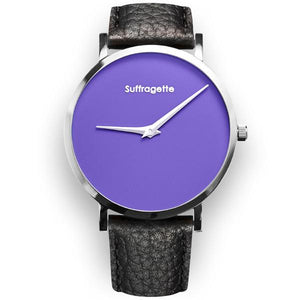 Womens Purple Watch - Silver - Suffragette Leather