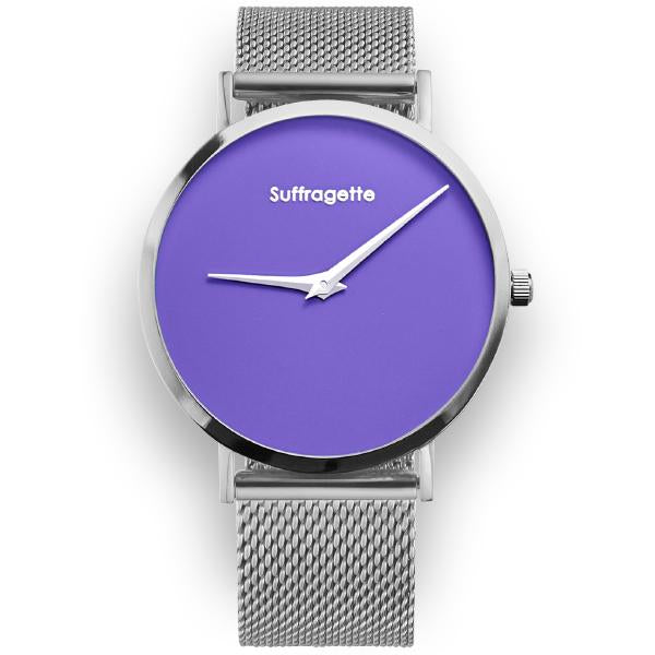 Womens Purple Watch - Silver - Suffragette Pankhurst