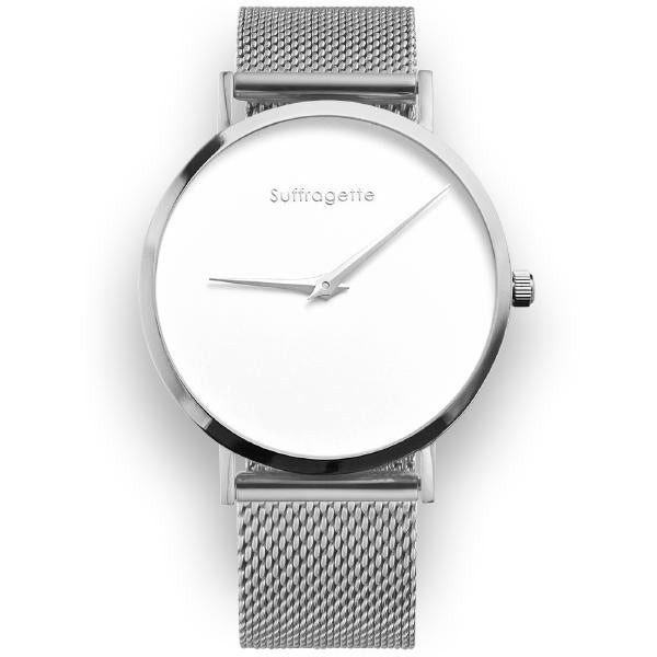 Womens White Watch - Silver - Suffragette Pankhurst