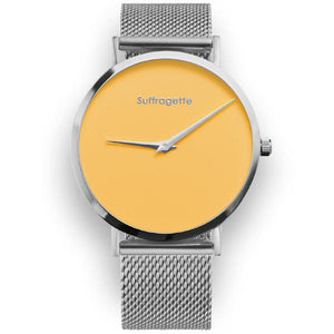 Womens Yellow Watch - Silver - Suffragette Pankhurst
