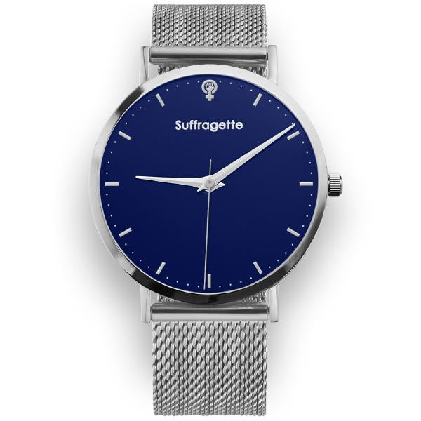 Womens Blue Watch - Silver - Suffragette Kahlo