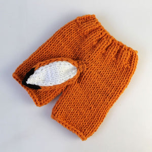 Cute Baby Fox clothing Infant Knit Hat Fox Ears Cap+Pants Set.