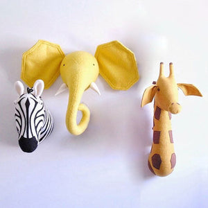 RD- Baby Nursery 3D Animal Head Wall Mount Kawaii Stuffed Elephant/Giraffe/Zebra Wall Hanging Toys Kids Room Animal Wall Sculptures