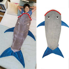 Load image into Gallery viewer, Shark Blanket Sleeping Bag Fleece Autumn Winter Thicken Warm Sleeping Blanket Cute Cartoon Quilt Kids Festival Gift