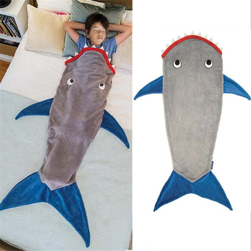 Shark Blanket Sleeping Bag Fleece Autumn Winter Thicken Warm Sleeping Blanket Cute Cartoon Quilt Kids Festival Gift