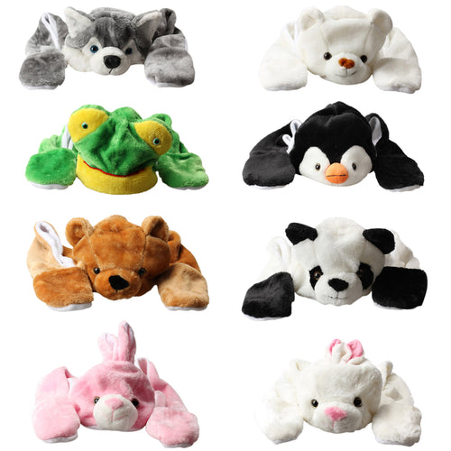 HAT- Animal Bear Panda Cartoon Kids Adult Hats Ears Plush Warm Cap Hat Earmuff Scarf Gloves