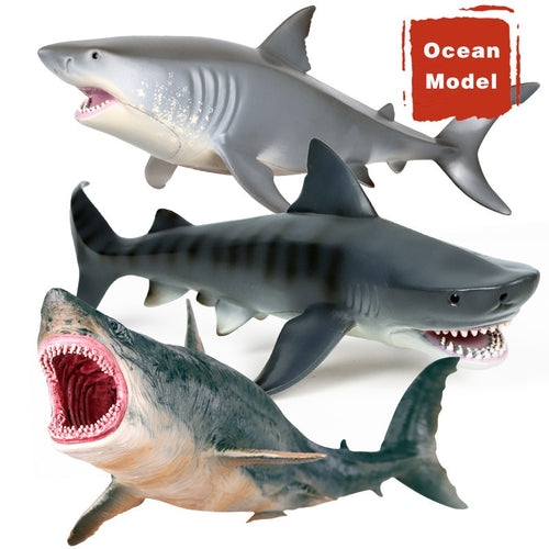SH- Children's Simulation Marine Life Underwater World Model Hollow White Shark Giant Tooth Shark Nearly 10 inches of Brute Force