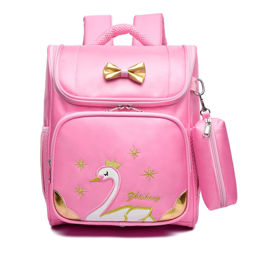 BP- Girls School Bags Swan Backpacks Children Girls Princess Pink Knapsack