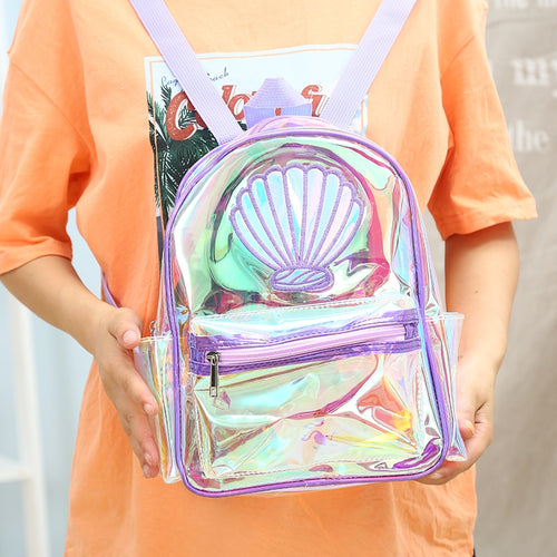 BP- Girl Laser PVC Mermaid Backpack Summer Transparent Waterproof School Bag Large Capacity Holographic Clear Teenager Student Bag