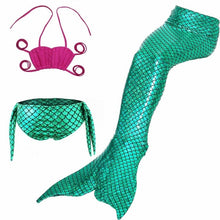 Load image into Gallery viewer, ME- 3 Pcs Mermaid Tail for Swimming Girl's Mermaid Bikini Pool Party Swimsuit Toddler girls summer swimsuit clothes Kids 3~10 Year With Supervision