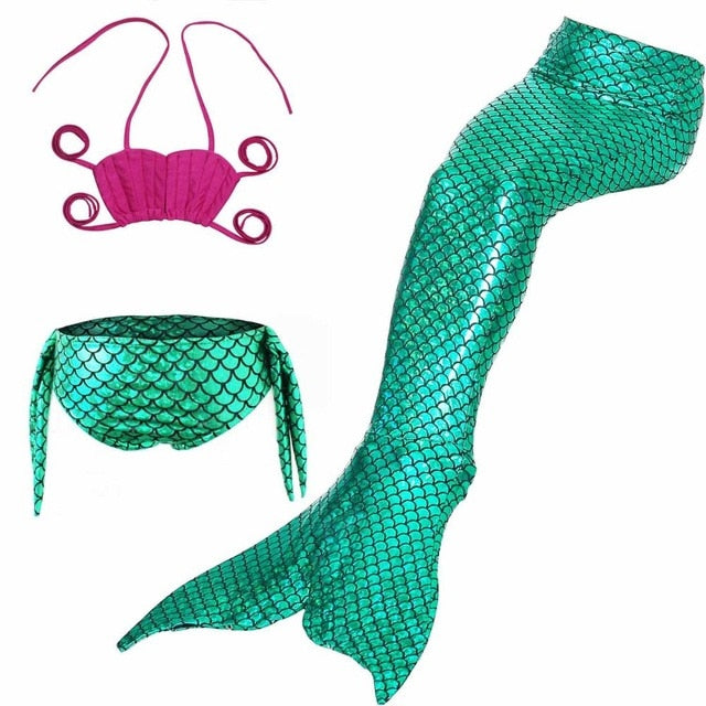 ME- 3 Pcs Mermaid Tail for Swimming Girl's Mermaid Bikini Pool Party Swimsuit Toddler girls summer swimsuit clothes Kids 3~10 Year With Supervision