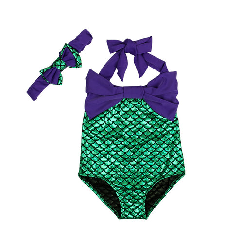 ME- 2019 Sets Mermaid little 2T-6T Girls Swimwear Purple Swimsuit + Bow Headband