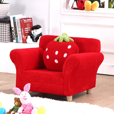 Fashionable Children's Chair in lovely soft, Strawberry Accent. Perfect for princess dress-up area.