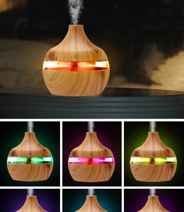 Electric Humidifier Aroma Oil Diffuser. Ultrasonic Wood Grain Air Humidifier USB Mini Mist Maker with LED Light For Home or Office.